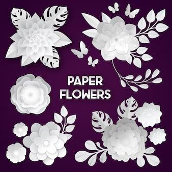 Élégantes fleurs coupées de papier blanc