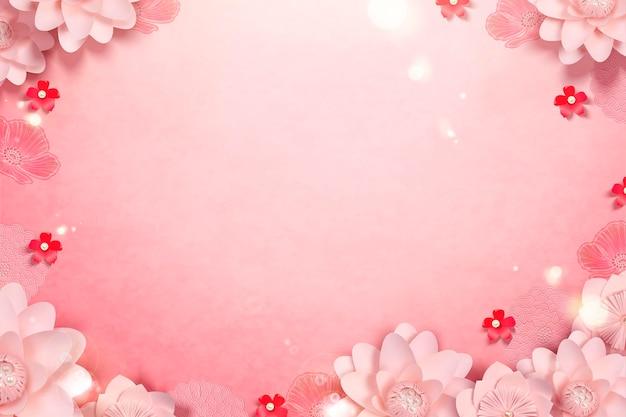 Élégantes fleurs en papier avec cadre décoratif en étamine perlée