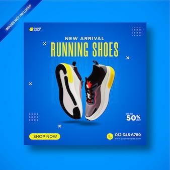 Élégantes nouvelles chaussures de course à pied post sur les médias sociaux et bannière web.