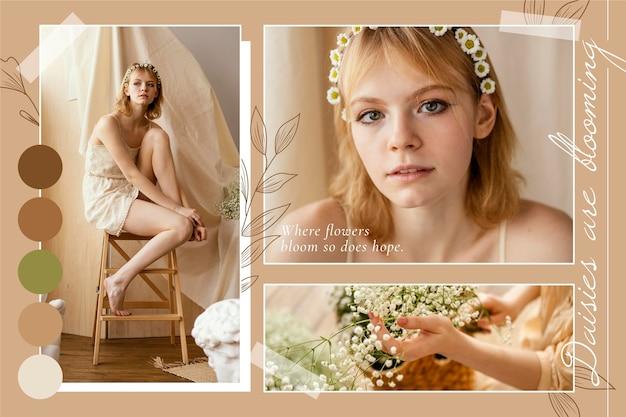 Élégants Collages De Photos Printanières Florales Vecteur gratuit