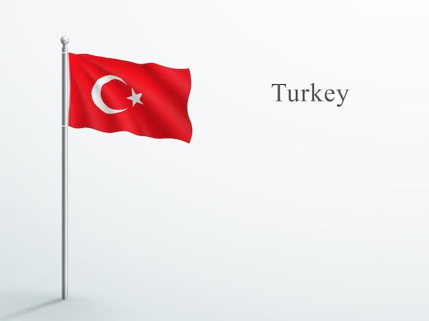 Élément 3d du drapeau de la turquie sur un mât en acier