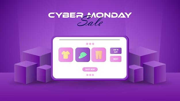 Élément 3d de table de vente de cyber lundi