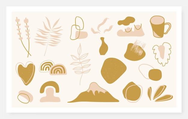 Élément abstrait de style bohème pour la décoration murale. décoration d'affiche esthétique organique. illustration vectorielle