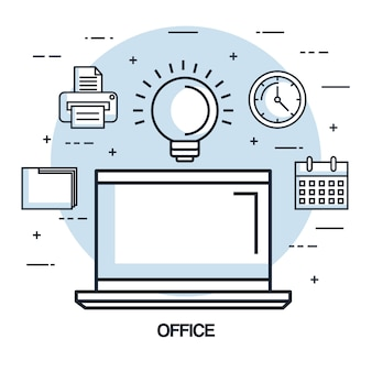 Élément d'affaires travail bureau idée portable