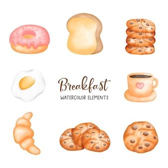 Élément aquarelle petit déjeuner et café