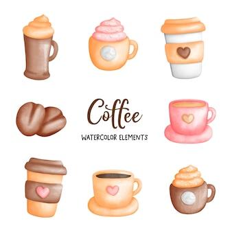 Élément aquarelle de tasse de café
