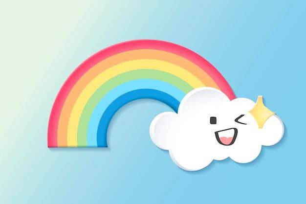 Élément arc-en-ciel heureux, vecteur de clipart météo mignon sur fond bleu