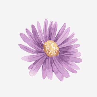 Élément d'autocollant dessiné main marguerite violet aquarelle