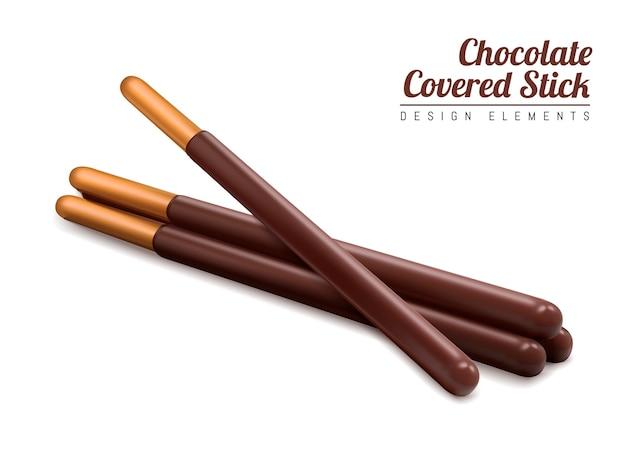 Élément de bâton enrobé de chocolat, bâton de chocolat isolé sur fond blanc