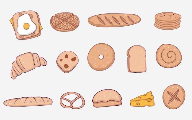 Élément de boulangerie dessiné main coloré