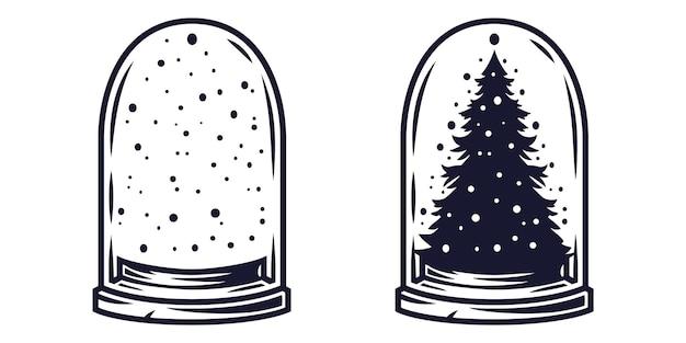 Élément de boule de neige de noël pour la fête du nouvel an