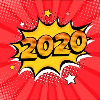 Élément de carte postale ou de carte de voeux de style bande dessinée 2020 nouvel an
