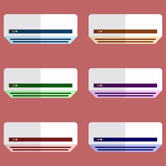 Élément de climatiseur coloré icône de jeu plat icône illustration