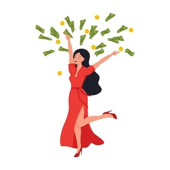 Élément comique de dessin animé plat wonan riche avec une femme riche se baignant dans un millionnaire
