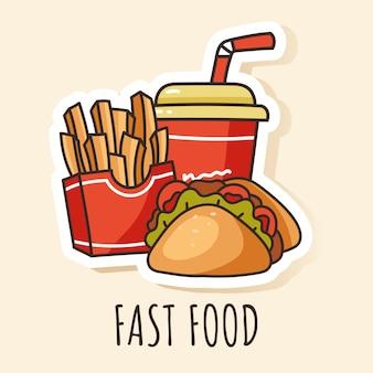 Élément de conception autocollant fast-food soda taco frites