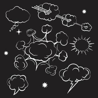 Élément de conception de bande dessinée nuage illustration vectorielle