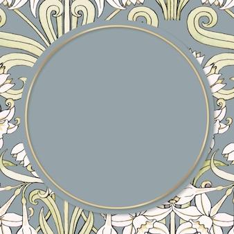 Élément de conception de cadre de vecteur de fleur de jonquille vintage