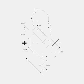 Élément de conception complexe en style glitch sur fond blanc. utile pour les tirages, les affiches et les couvertures.