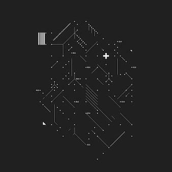 Elément de conception complexe en style glitch sur fond noir. utile pour les tirages, les affiches et les couvertures.