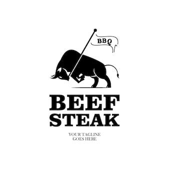 Élément de conception d'étiquette rétro vintage steak de boeuf