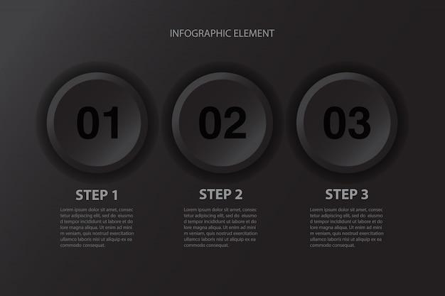 Élément de conception infographique de boutons noirs minimalistes modernes en trois étapes pour la présentation d'entreprise.