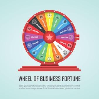Élément de conception infographique roue de fortune