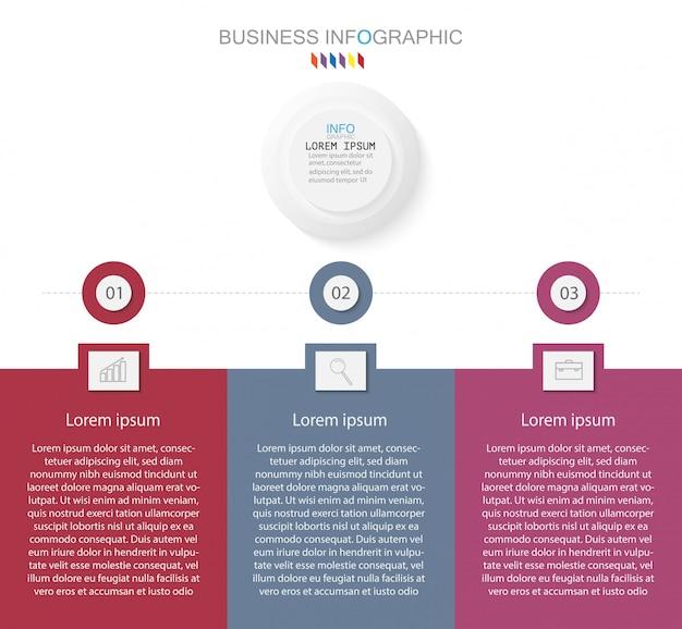 Élément de conception infographique de la timeline et options de numérotation. concept d'entreprise en 3 étapes