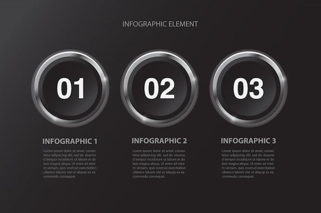 Élément de conception infographique en trois étapes minimaliste noir moderne pour la présentation d'entreprise.