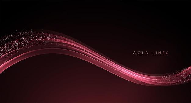 Élément de conception de lignes mobiles dorées abstraites vagues dorées avec effet de paillettes sur fond sombre ...