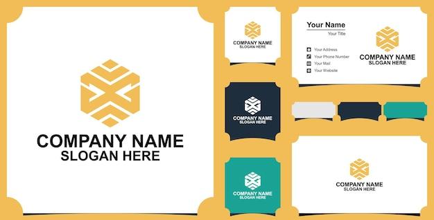 Élément de conception de logo hexagonal lettre g avec carte de visite premium