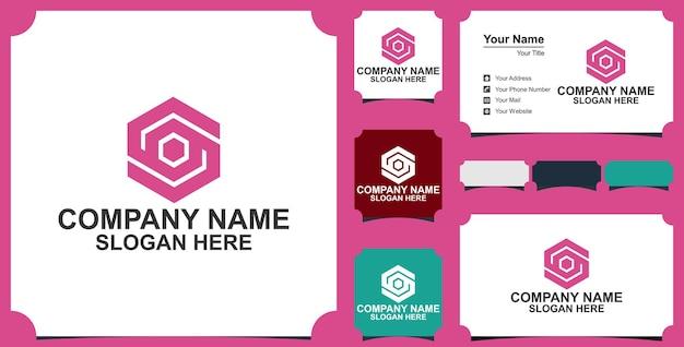 Élément de conception de logo hexagonal lettre s avec carte de visite premium