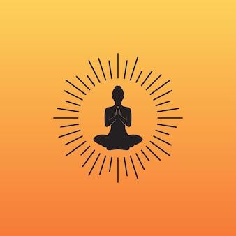 Élément de conception de logo d'icône de coucher de soleil de yoga