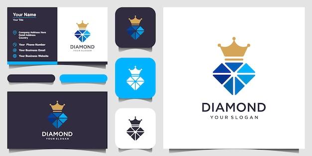 Élément de conception de logo d'icône de diamant de roi. conception de carte de visite