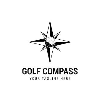 Élément de conception de logo d'icône de golf de boussole