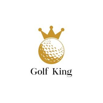 Élément de conception de logo d'icône de roi de golf