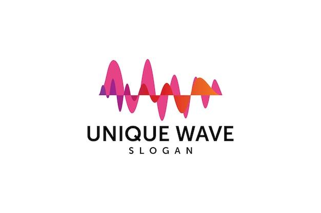 Élément de conception de logo d'impulsion ou de vague audio unique