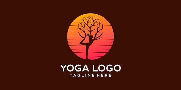 Élément de conception de logo yoga sun icon