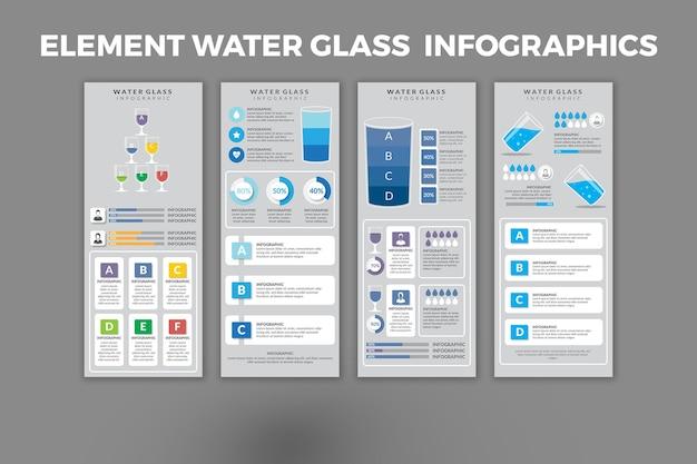 Élément de conception de modèle d'infographie verre à eau