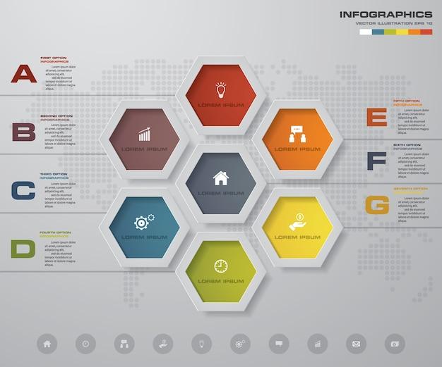 Élément de conception de processus en 7 étapes pour la présentation.