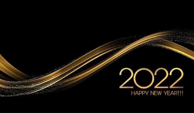 Élément de conception de vague d'or de couleur brillante abstraite du nouvel an 2022
