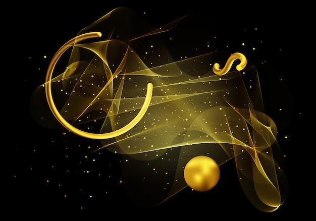 Élément de conception de vague transparente dorée avec effet de paillettes dorées. fond d'or abstrait