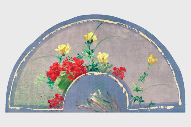 Élément de conception de vecteur d'éventail de soie antique, remix d'œuvres d'art d'henri-charles guérard