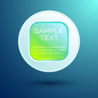 Élément de conception web avec texte bouton carré rond brillant sur cercle isolé