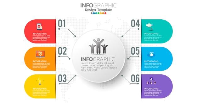 Élément de couleur étape infographie avec diagramme circulaire, graphique d'entreprise.