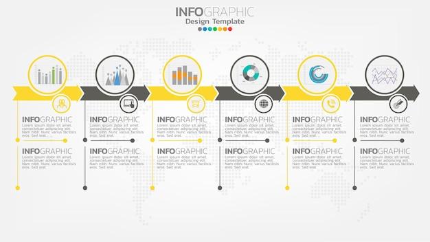 Élément de couleur jaune étape infographie avec flèche, diagramme graphique, concept de marketing en ligne entreprise.