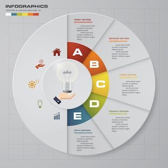Élément de conception infographie de processus en 5 étapes.