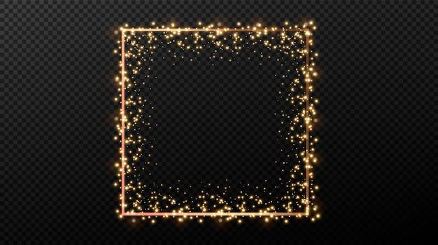 Élément de décor festif. brillant des formes géométriques de lumière dorée. cadres décoratifs dorés.