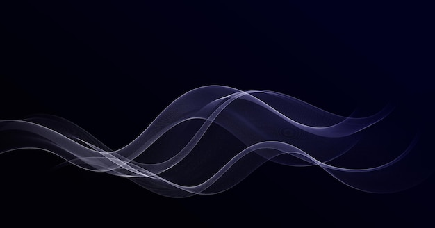 Élément de design abstrait vague bleue de couleur brillante sur fond sombre.