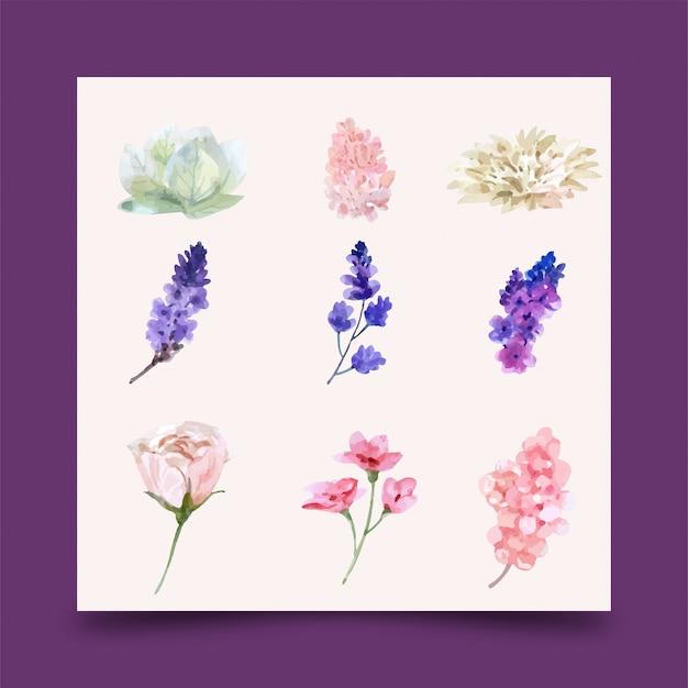 Élément de design aquarelle de mariage fleur