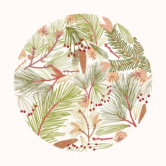 Élément de design circulaire, décoration composée d'élégantes branches de conifères, d'aiguilles et de cônes de sapin ou de pin